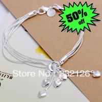JH067 Lowest price Wholesale 925 sterling silver bracelet & bangle jewelry, 925 silver new jewelry Heart Pendant Bracelet