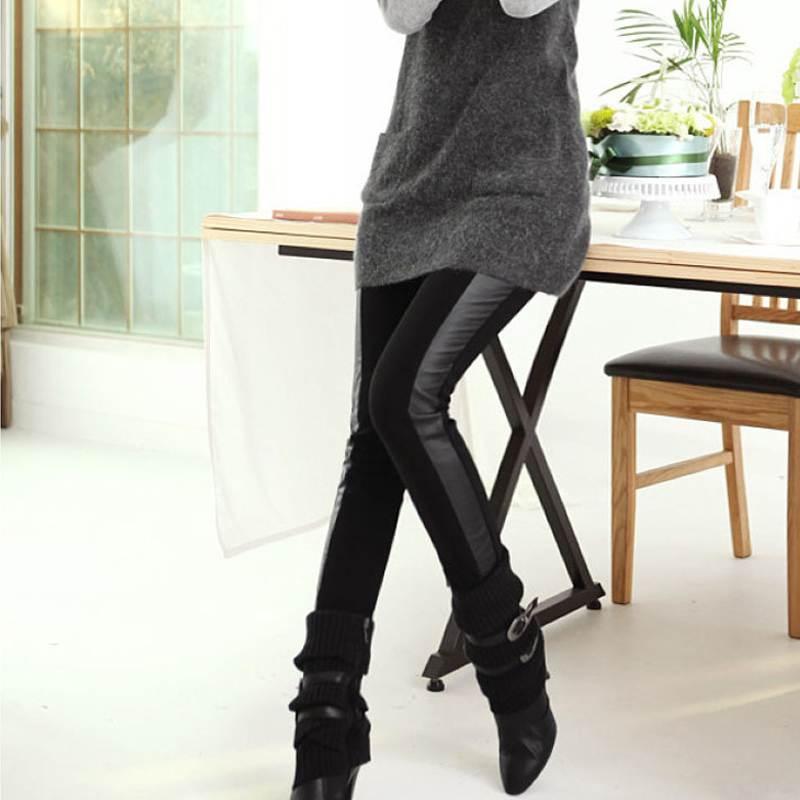 New Fashion! Vintage Leggings For Women Sexy Imitation Pu Leather + Cotton Black Leggings Free & Drop Shipping(China (Mainland))