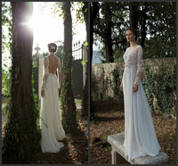 New Fashion Bridal Collection 2014 Sexy Lace Long Sleeves Backless Custom Wedding Dresses Made In China