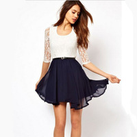 2014 summer european style 1/2 sleeve lace chiffon stitching white and black color party dresses round collar casual dress D039