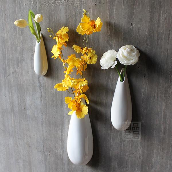 Modern ceramic vase brief white vase wall mounted vase flower fashion home decoration together with flowers home decor vase(China (Mainland))