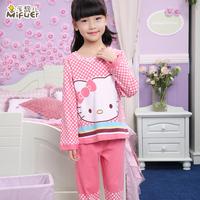 Child sleepwear 100% cotton long-sleeve female child girl autumn and winter baby clothing children's lounge set sleepwear child