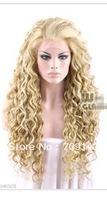 "made 33"" Wavy Long Freestyle Curly Party wigs queen brazilian women's Spiral Golden Blonde Mixed Brown Lace Front hair Wig"