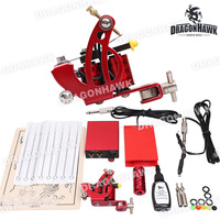 Complete Beginer Tattoo Kit  Machine Guns ink Power Supply Set  D1017