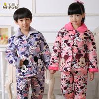 Child sleepwear boy male child autumn and winter thickening cotton-padded coral fleece sleepwear