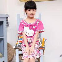 Child sleepwear female child princess child nightgown female child 100% cotton girl lounge