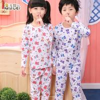 Children's clothing autumn child underwear set 100% cotton male female child sleepwear baby lounge spring and autumn clothes