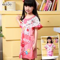 100% child cotton nightgown summer cartoon children's clothing family fashion sleepwear female child lounge set