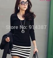 Desigual Promotion Freeshipping Natural O-neck Winter Dress 2014 Women's New Korean Ladies Large Size Fashion Slim Stripe Dress