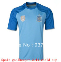 Spain 2014 world cup Goalkeeper blue soccer jersey top thailand quality  spainish goalie casillas football shirts free shipping