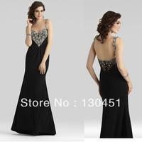 2014 new black chiffon beaded crystal sweetheart spaghetti prom dress long ruffles sexy backless evening dresses