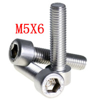 A2 STAINLESS STEEL ALLEN BOLT SOCKET CAP SCREWS HEX HEAD DIN 912  M5X6