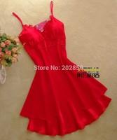 Free Shipping Female Spring&Summer Lace Spaghetti Strap Nightgown ,Chiffon Gauze Faux Silk Nightgown ,Sexy Sleepwear,Best Seller