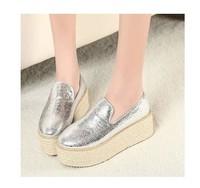 2014 Free shipping High-heeled hemp rope knitted belt platform wedges platform shoes casual vintage Women's shoes