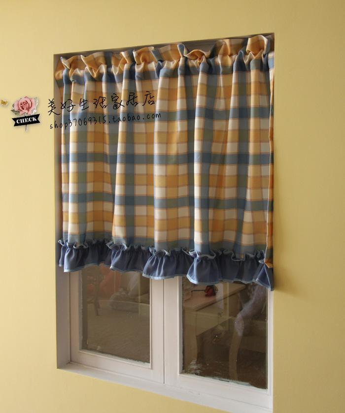plaid blue ruffle american rustic semi shade curtain kitchen curtain