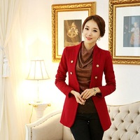 Woolen outerwear 2013 autumn and winter Slim mulberry Red Suit jacket Russian Weather Clothes  Female Warm coat