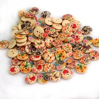 Fashion Cute Round Mixed Painted Design Pattern Decoration Clothing Accessories Sewing Buttons 2 Holes Wood Buttons 50PCS 1390
