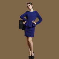 Shining diamond vintage ruffle long-sleeve dress thickening ol one-piece dress