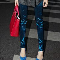 Fashion metal liangsi elastic slim skinny legging pants high waist trousers female