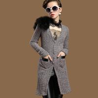 Ostrich wool shoulder pads lacing waist slim knitted sweater medium-long sweater outerwear