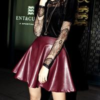 2013 autumn vintage PU faux leather skirt bust skirt a high waist puff short skirt female