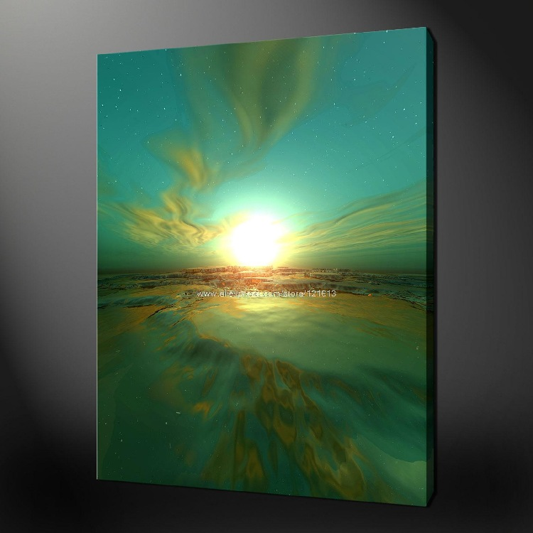 Sunset abstract premium quality canvas picture wall art for Abstract mural painting