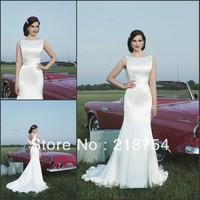 Simple Elegant Scoop Backless White Satin Mermaid Court Train Weddings&Events Wedding Dresses Bridal Gown 2014 vestido de noiva