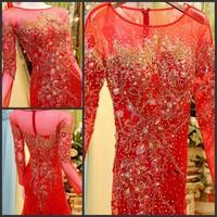 Ultimate luxury crystal formal dress formal dress toast the bride married formal dress evening dress xj0365