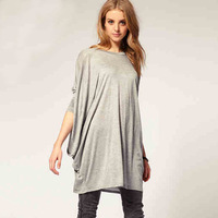 New Arrival Women Long Wide Piko Style Fashion Batwing Sleeve Loose Fit T-shirts Tops Black Grey XXL