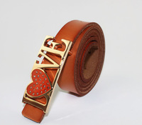 Fashion Gold LOVE-Buckle Coffee Leather Belt Lady Waistband (4 Colours)