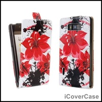 Printed Flower Leather Case Cover For LG Optimus L7 P700  P705