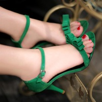 High heels bow lacing sexy women's shoes green vegeterians sandals size 34-39