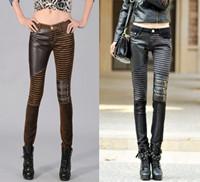 Pu luxury patchwork fashion female star pencil jeans