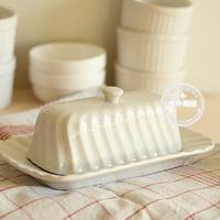 Slanting stripe ceramic cake pan dessert plate butter plate storage tray 0.67kg