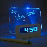 Free Shipping LED Fluorescent Message Board Digital Alarm Clock With 4 Port USB Hub Calendar Night light 95258