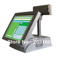 Free Shipping 15inch Restaurant Touch POS Order Machine with 80mm Thermal Printer Auto-cutter and Cash drawer