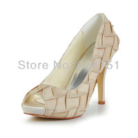 2014 new gold women wedding bridal shoes high heel platform custom satin prom evening party pumps plus size 3-11 free shipping