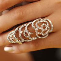 Sheegior 2014 New Fashion Jewelry Gold Hollow full rhinestone women rings High quality Free shipping !