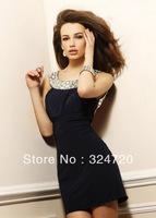 Sexy beaded scoop neck open back sheath mini-length short 2014 new prom dress 1532