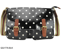 4 Colors Free Shipping New 2014 Women Polka Dots Printing Handbag Buckle Satchel Messenger Bag Oilcloth Shoulder Bags QQ1776