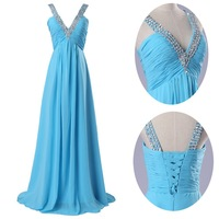 2014 New Arrival Blue Long Prom Dresses Fashion Chiffon Dress Evening Gown Beading Dress Gown CL6040