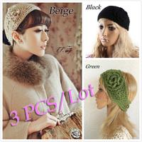 3 PCS/lot Women Crochet Headband Knit hairband Flower Winter Ear Warmer