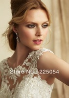 New Sexy Beaded Embroidery  Lace  Bridal Gown Wedding Dresses Custom Size