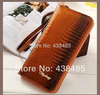 New 2014 Crocodile Pattern Real Genuine Leather Women Wallets Luxury Famous Brand Wallet Purse Women