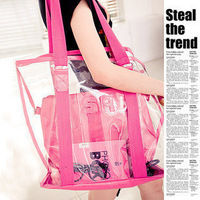 2014 transparent waterproof beach bag plastic women's handbag jelly shoulder bag  free shipping