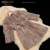 EMS free shipping 2014 new rex rabbit hair fur coat medium-long women's o-neck real fur coat with belt (S--XXXL)