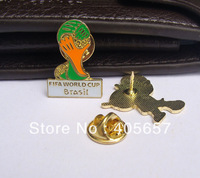2pcs/set Nice 2014 Brazil World Cup Mascot +Trophy Colorful metal pins set World Cup Medal Souvenir breastpin