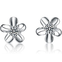 Wholesale & Retail for 100% Guaranteed Full 925 Sterling Silver Earrings with Zircon,flower Silver Earrings,Top Quality (120140)