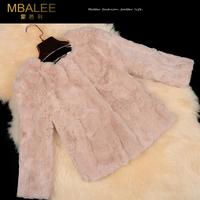 Free shipping Fur coat 2014 winter female/women's rex rabbit hair three Quarter sleeve short design real fur coat (M--XXL)