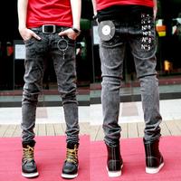 Male spring dark grey male slim jeans pants elastic male trousers
